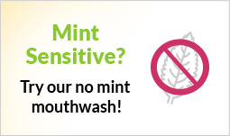 mobile image that tells the user that the natural dentist offers a mouthwash that doesn't contain mint