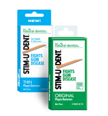 a picture of the natural dentist stim-u-dent plaque removers that help improve swollen and bleeding gums better than brushing or flossing