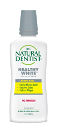 a picture of the natural dentist healthy white prebrush mouthwash with bamboo silica that safely whitens teeth removes stains and reduces plaque