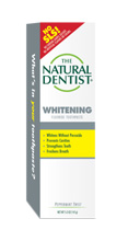 a picture of the natural dentist whitening fluoride toothpaste that whitens without peroxide prevents cavities strengthens teeth and freshens breath