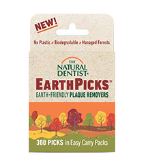 image of a bag of the natural dentist EarthPicks earth-friendly plaque removers that are biodegradable contain no plastic and use wood from managed forests
