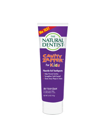 a picture of the natural dentist cavity zapper fluoride gel toothpaste for kids that helps prevent cavities strengthen tooth enamel and cleans plaque and stains