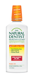 a picture of the natural dentist healthy gums orange zest mouthwash that treats bleeding gums fights gingivitis and freshens breath