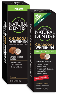 a picture of the natural dentist charcoal whitening fluoride-free toothpaste in cocomint that whitens teeth refreshes breath and removes stains