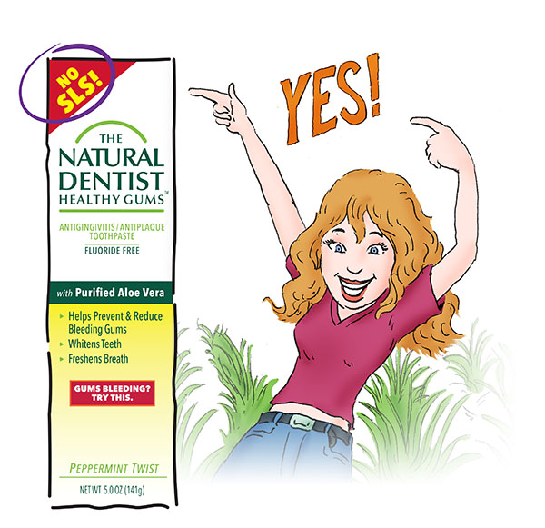 aloe based natural dentist healthy gums fluoride free anti-gingivitis antiplaque toothpaste callout image with woman in an aloe field and a sign that says the toothpaste is sulfate free