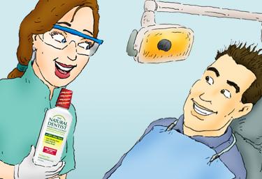dentista muestra al hombre sonriendo en su sillón de examen dental el dentista natural encías saludables enjuague bucal anticaries para combatir la gingivitis, refrescar el aliento y curar las encías sangrantes