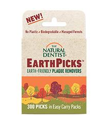 imagen de una bolsa del dentista natural EarthPicks removedores de placa ecológicos que son biodegradables no contienen plástico y utilizan madera de bosques gestionados